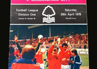 Forest v Birmingham 29.04.1978 (League Champions)