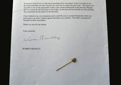 England v Germany 12.10.1957 (Amateur Match - Bradley letter and Germany pin)