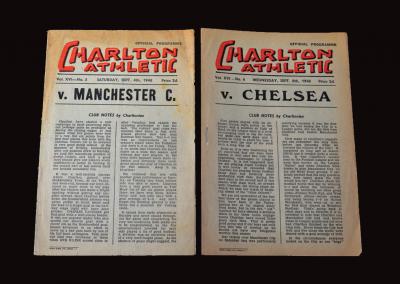 Charlton v Man City 04.09.1948   Charlton v Chelsea 08.09.1948