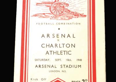 Charlton Reserves v Arsenal Reserves 18.09.1948