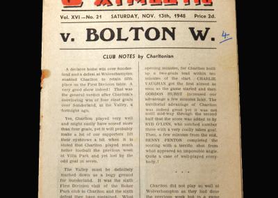 Charlton v Bolton 13.11.1948