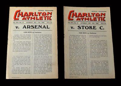 Charlton v Arsenal 11.12.1948   Charlton v Stoke 18.12.1948