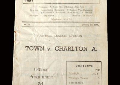 Charlton v Huddersfield 01.01.1949