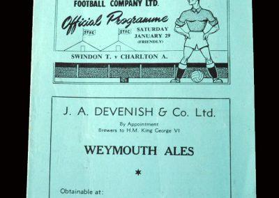 Charlton v Swindon 29.01.1949 (Friendly)