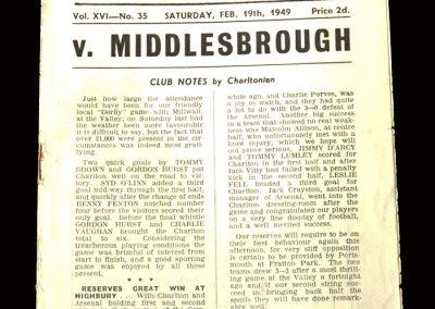 Charlton v Middlesbrough 19.02.1949