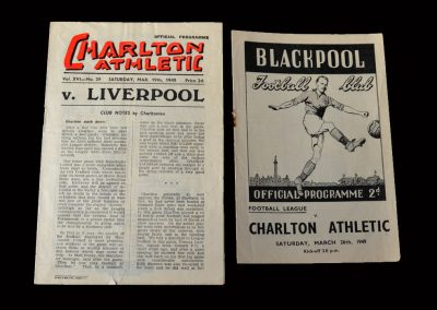 Charlton v Liverpool 19.03.1949   Charlton v Blackpool 26.03.1949