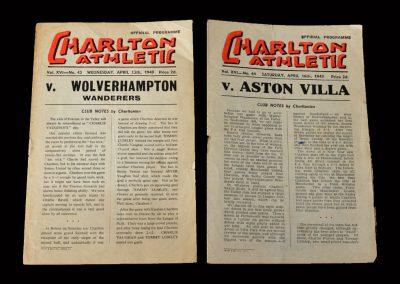 Charlton v Wolves 13.04.1949   Charlton v Aston Villa 16.04.1949