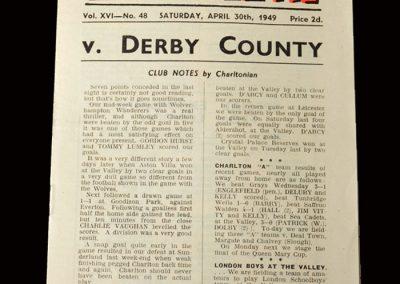 Charlton v Derby 30.04.1949
