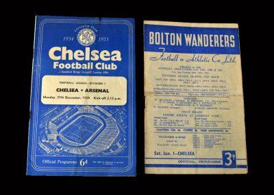 Chelsea v Arsenal 27.12.1954 | Bolton v Chelsea 01.01.1955