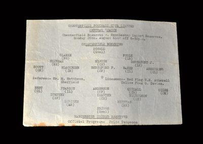 Chesterfield Reserves v Man Utd Reserves 26.08.1963