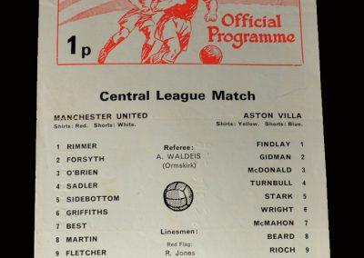 Man Utd v Aston Villa 06.10.1973 (In the reserves trying to comeback)
