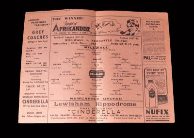 Millwall v Newcastle 13.12.1947 (at Crystal Palace as the den was closed)