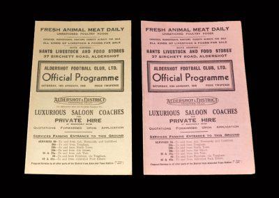 Aldershot v Ipswich 10.01.1948 | Aldershot v Reading 24.01.1948