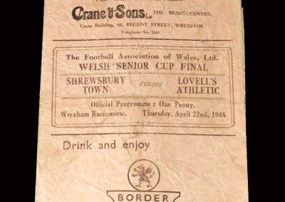 Welsh Cup Final 22.04.1948 (Shrews v Lovells)