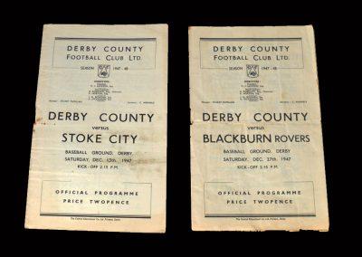 Derby v Stoke 13.12.1947 | Derby v Blackburn 27.12.1947