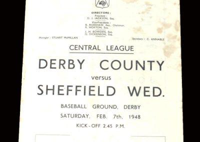 Derby Reserves v Sheff Wed Reserves 07.02.1948