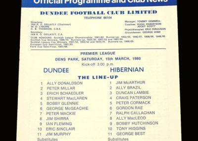 Hibs v Dundee 15.03.1980