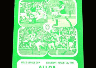 Hibs v Alloa 30.08.1980 - Scottish League Cup 2nd Round 2nd Leg
