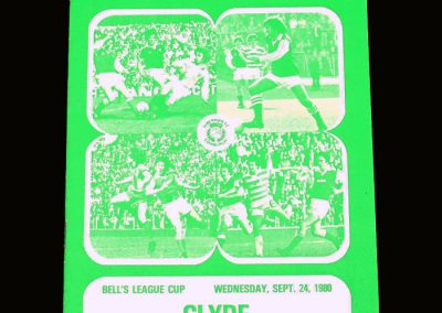 Hibs v Clyde 24.09.1980 - Scottish League Cup 3rd Round 2nd Leg