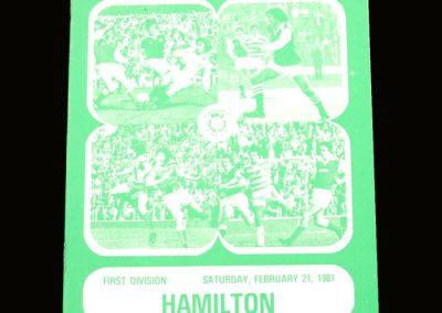 Hibs v Hamilton 21.02.1981 - Gone but still on the cover