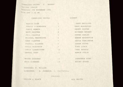 Barnet Reserves v Cambridge Reserves 07.11.1991