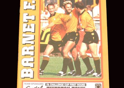 Barnet v Tiverton 16.11.1991 - FA Cup 1st Round