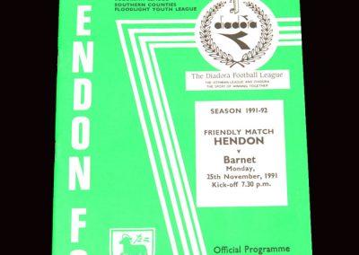 Barnet v Hendon 25.11.1991 (Friendly)