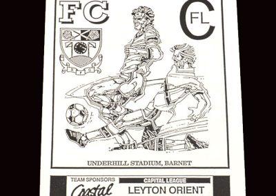 Barnet Reserves v Leyton Orient Reserves 27.11.1991