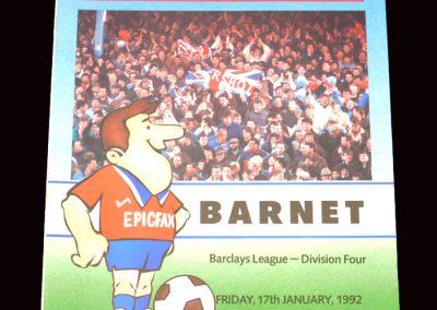Barnet v Aldershot 17.01.1992 (postponed)