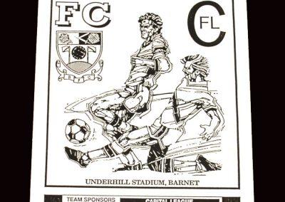Barnet Reserves v Slough Reserves 20.01.1992