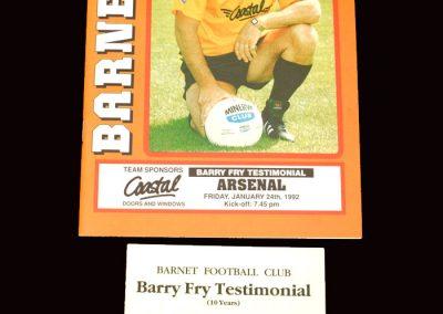 Barnet v Arsenal 24.01.1992 (Barry Fry Testimonial)