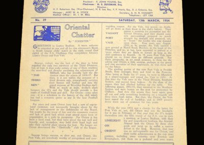 Port Vale v Leyton Orient 13.03.1954 - FA Cup 6th Round