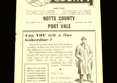 Port Vale v Notts County 02.09.1954