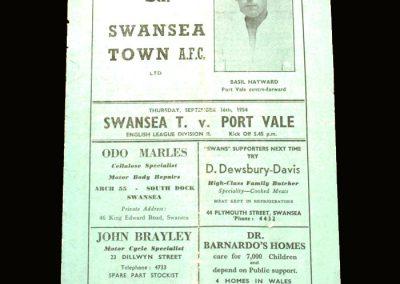 Port Vale v Swansea 16.09.1954