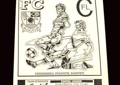 Barnet Reserves v Brentford Reserves 04.05.1992 (Capital League Cup Final)