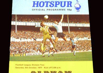 Spurs v Oldham 08.10.1977