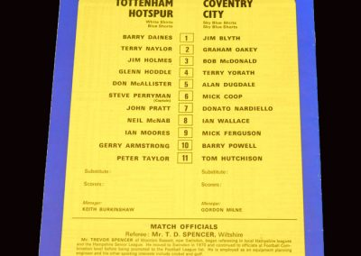 Spurs v Coventry 26.10.1977 - League Cup 3rd Round
