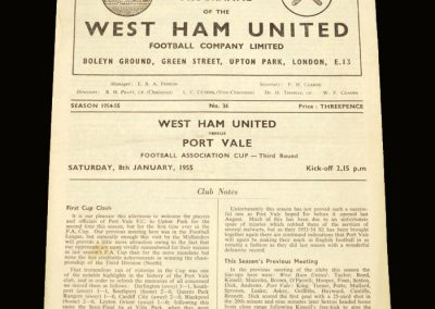 Port Vale v West Ham 08.01.1955 FA Cup 3rd Round