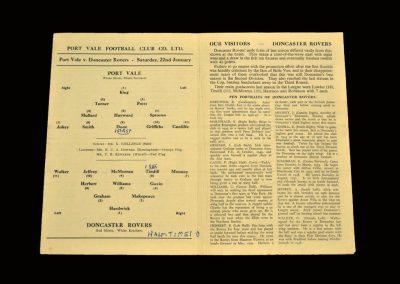 Port Vale v Doncaster 22.01.1955