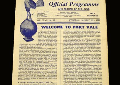 Port Vale v Spurs 29.01.1955 FA Cup 4th Round