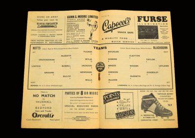 Notts County v Blackburn 31.08.1957