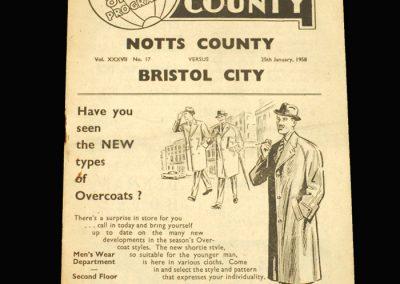 Notts County v Bristol City 25.01.1958 FA Cup 4th Round