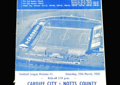 Notts County v Cardiff 15.03.1958