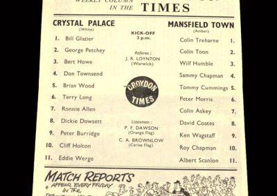 Crystal Palace v Mansfield 31.08.1963