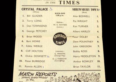 Crystal Palace v Shrewsbury 14.09.1963