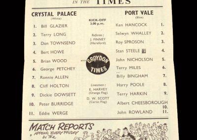 Crystal Palace v Port Vale 28.09.1963