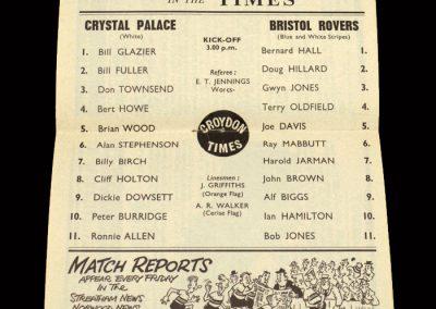 Crystal Palace v Bristol Rovers 26.10.1963