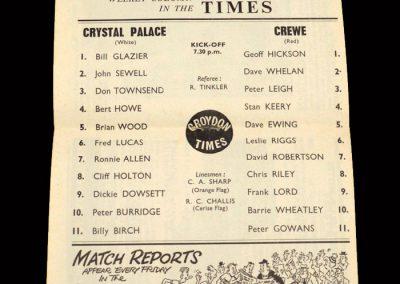 Crystal Palace v Crewe 30.10.1963