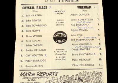 Crystal Palace v Wrexham 09.11.1963