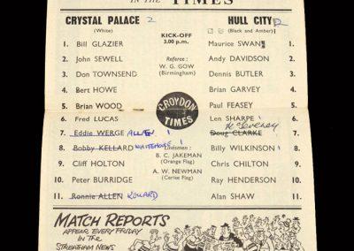 Crystal Palace v Hull 23.11.1963